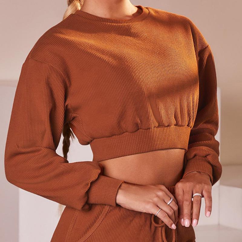 Crop Top Women Yoga Sport Top Fitness Women Blouses Long Sleeve Sport Shirt Casual Workout Running Sweatshirt Gym Clothing