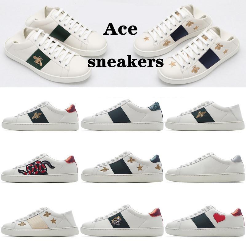 2021 Männer Frauen Sneaker Mode Freizeitschuhe Schlange Chaussures Leder Sneakers Ace Biene Stickerei Streifen Schuh Walking Herren Sporttrainer Tiger