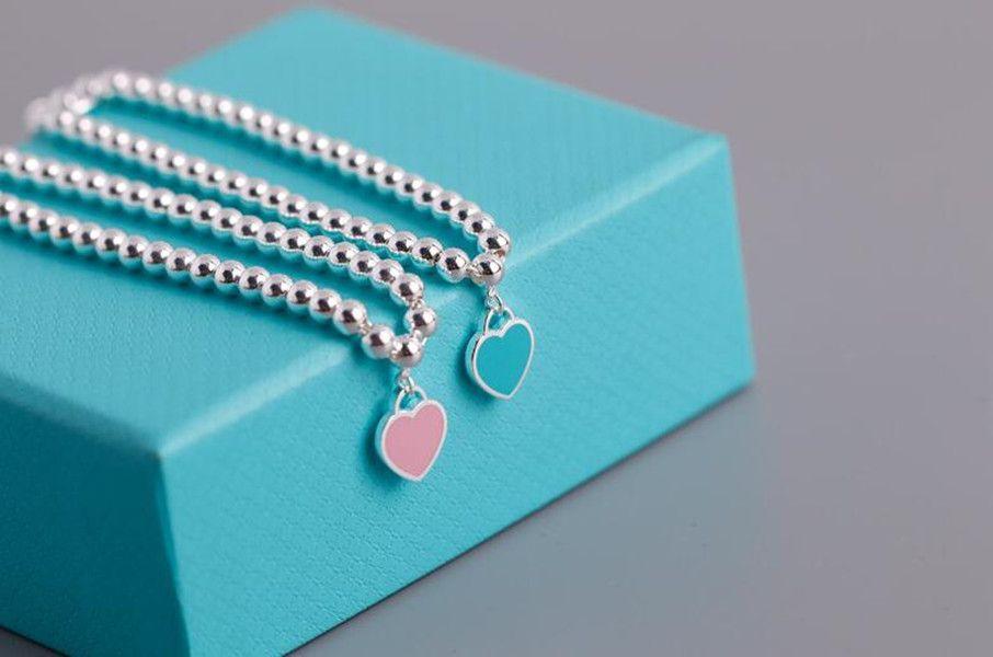 2021 New Blue Rosso Braccialetto cuore rosa S925 Sterling Silver Braccialetto Braccialetto Amore Blu Blu Buddha Bead Mano Ornamento Girl Commercio all'ingrosso