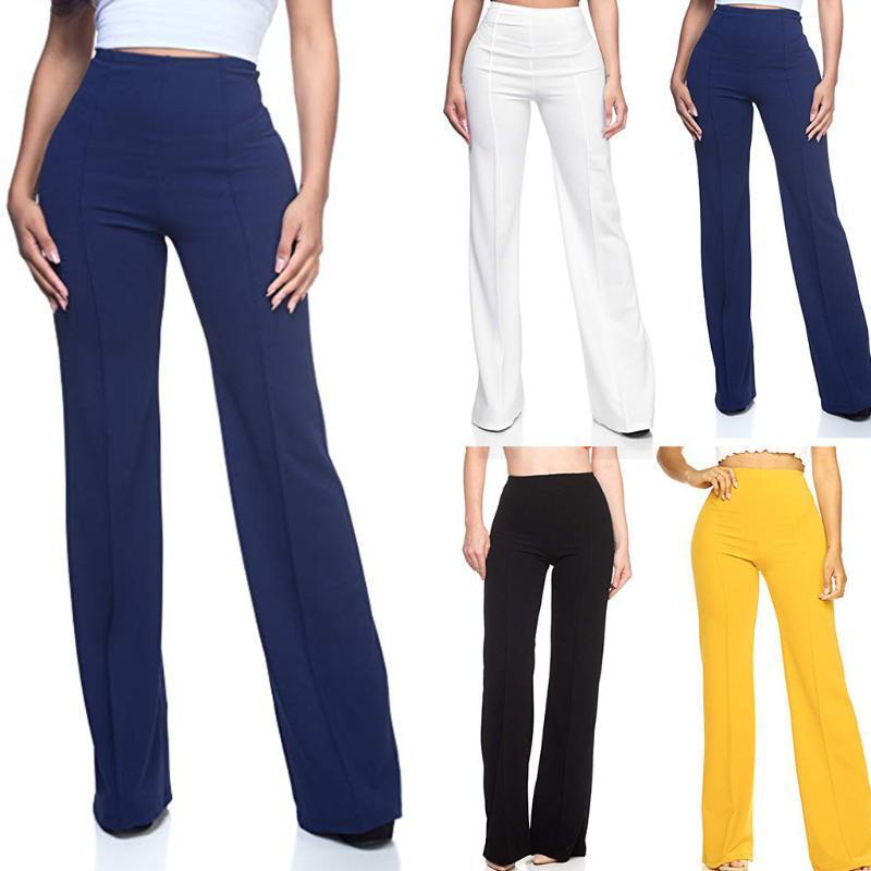 Kadın Yüksek Bel Moda Katı Gevşek Geniş Uzun Pantolon Akan Palazzo Pantolon Bayan Moda Giyim Vestido De Mujer