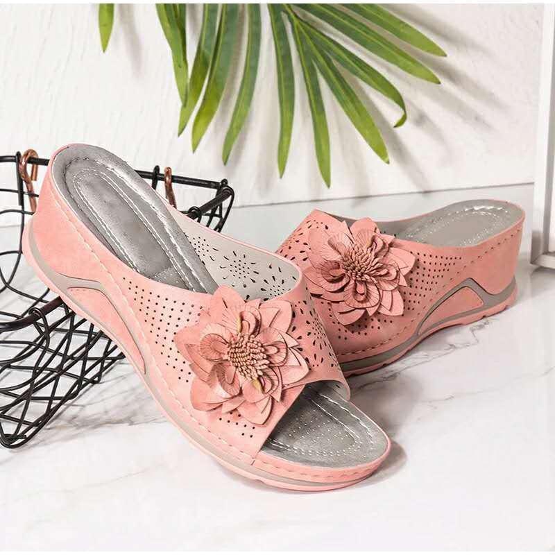 Hausschuhe Mode Weibliche Schuhe Frau Sexy Frauen Sommer Folien Ldies Casual Hohl Floral Sandalen Wedges Plattform Nähen