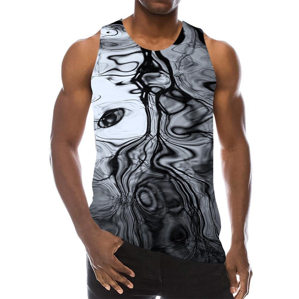 Top sin mangas negro abstracto de los hombres Impresión 3D Psychedélico playa textura gimnasio sin mangas patrón tops chaleco gráfico
