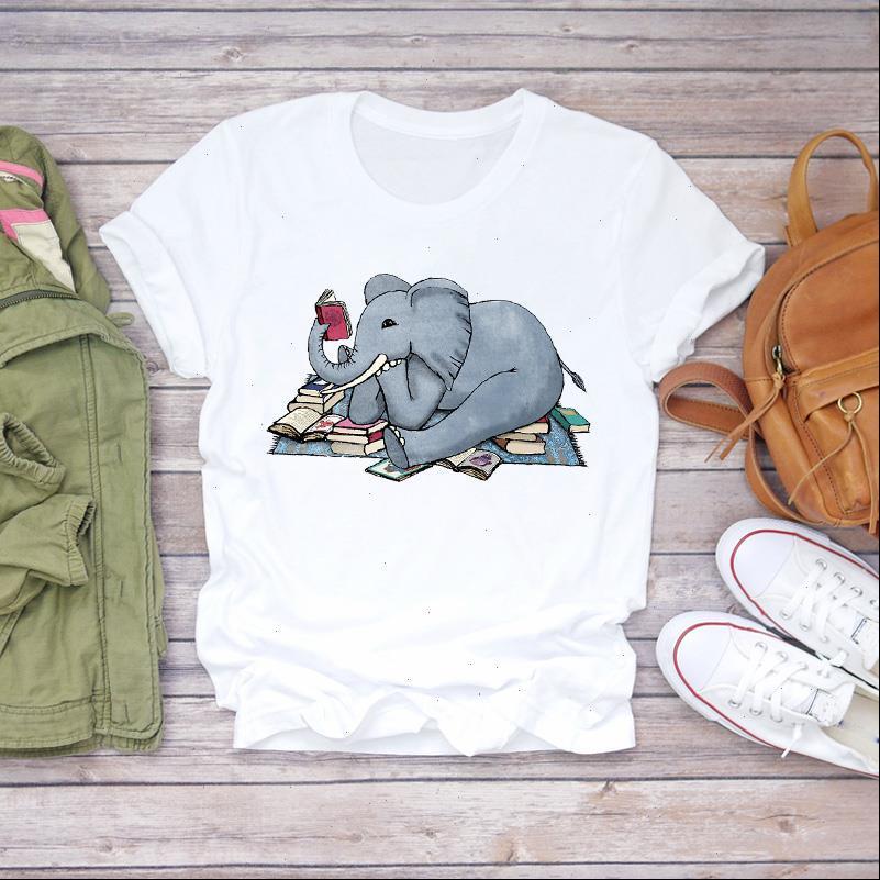Frauen 2021 Cartoon Lustige 90er Jahre Elefant Koreanische Kleidung Dame T Shirts Top Frauen T-shirt Damen Grafik Weibliche T-Shirt