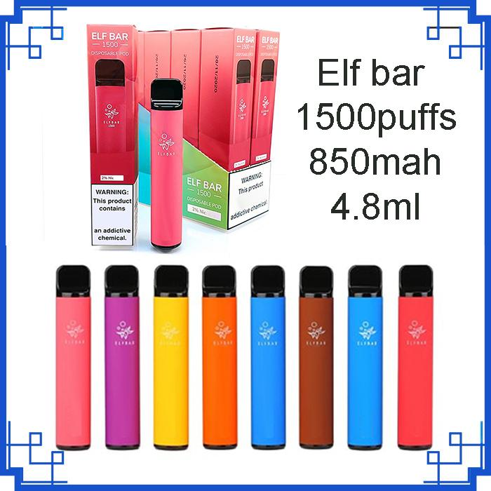 En Kaliteli Elf Bar Artı Tek Kullanımlık Cihaz Sigara Dahili 4.8 ML Kapasiteli 1500Puffs Vape Epmty Pods Başlangıç Kiti VS Bang XXL Max Ekstra Ultra Geek Anahtarı