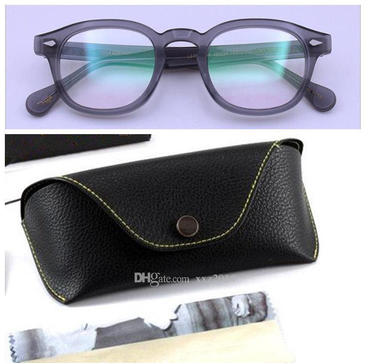 Разработанный Johnny DEPP LEMT Unisex Солнцезащитные очки Frame 46-23-145 Круглый Ретро-Урожай для рецепта резной корзины