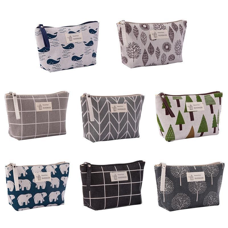 Animal Bear Printed Canvas Pencil Case Handbag Zipper Pen Pouches Cosmetic Bag Makeup Bags Phone Clutch Bag Storage Bags Organizer 8 Colors