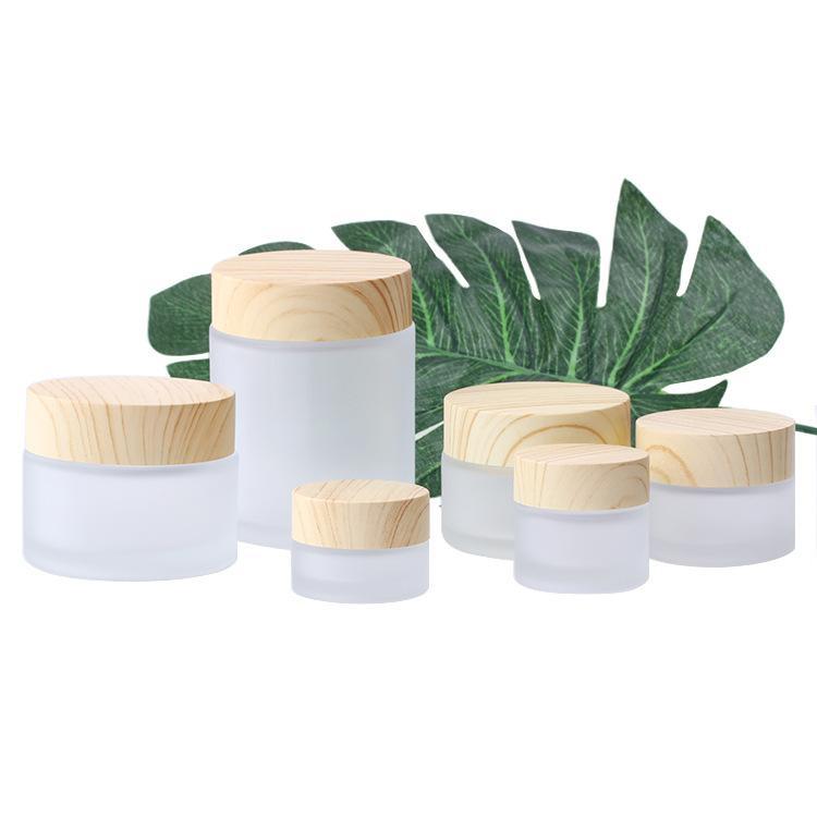 Frasco frasco de vidro fosco frascos redondos de cosméticos frascos de mão empacotando jarro 5g 50g jarro com cobertura de grão de madeira