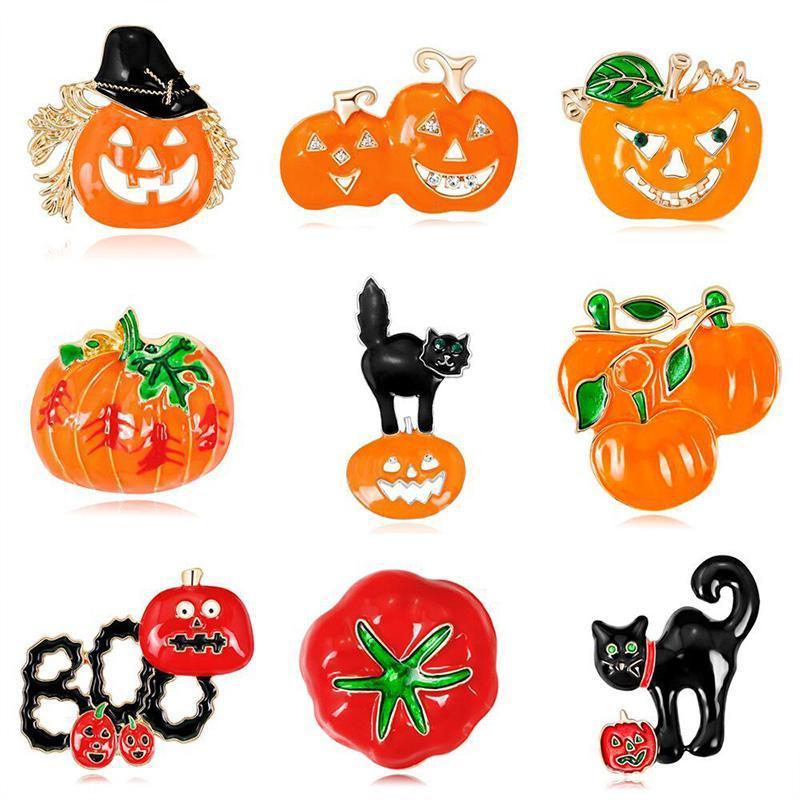 Halloween Pin Boo Kürbis Kätzchen Strass Rotwein Flasche Brosche Emaille Pin Rucksack Tuch Spaß Revers Abzeichen Schmuck Geschenk