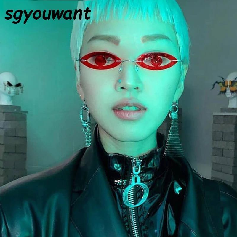 Sgyouwant 2021 nouvelle mode petits yeux lunettes de soleil femmes creuses ovales ovale fête coloré lunettes lunettes femelles hommes hip hop nuances