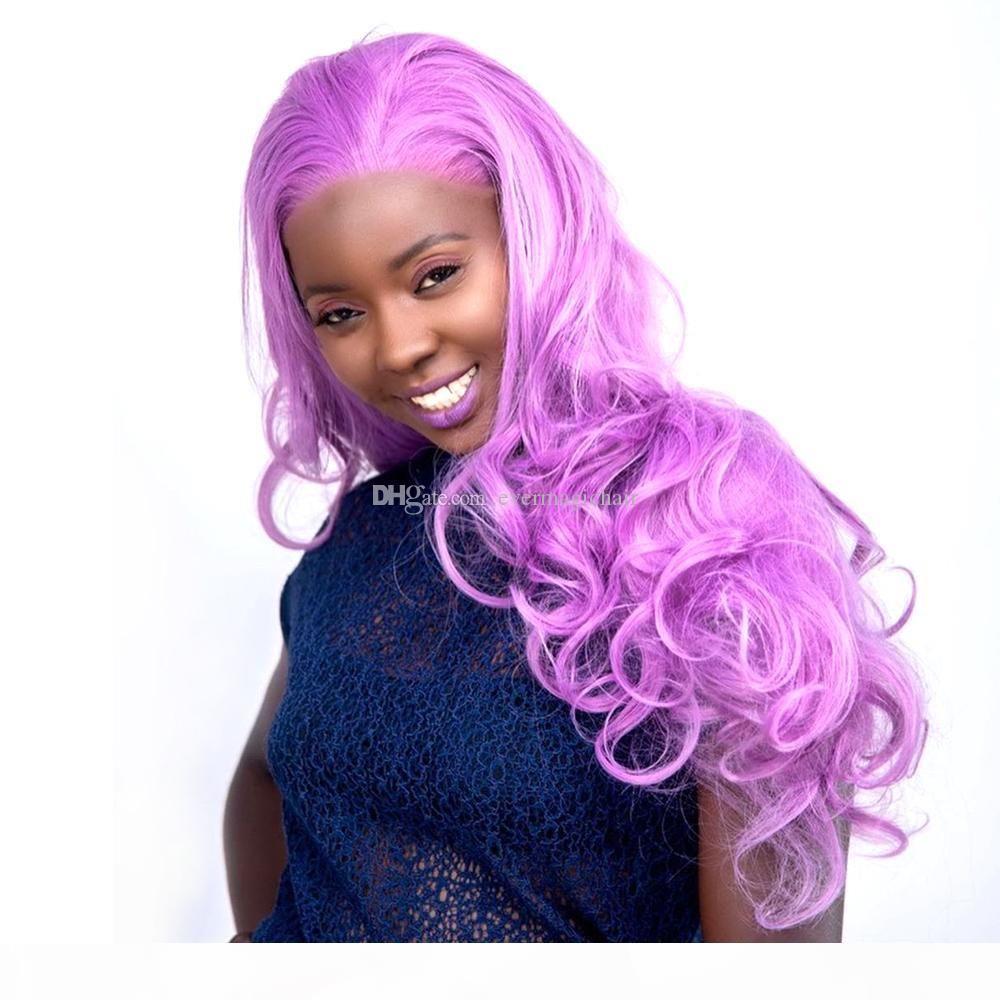Бесплатная Доставка OMBRE Лавандовая Фиолетовая Цвет Безлистые Полный Кружева Человеческие Волосы Парики с Детским Волосом 130% Плотность Плотность Плотровные Парики