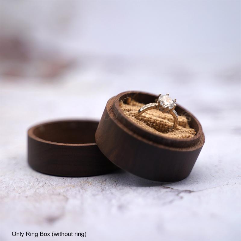 Schmuckbeutel, Taschen Jubiläum Haltbarer Holz Ringkasten Geschenk Runde Vintage Braun Romantische gravierte Brief Vorschlag Hochzeit Verpackung Lightweig