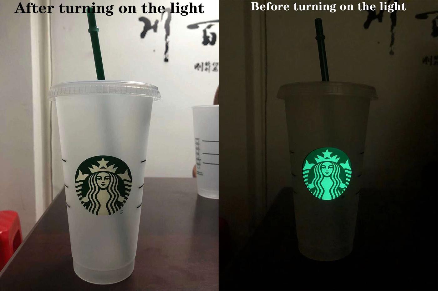 100 Stücke leuchtende Starbucks 710 ml Kunststoff-Tumbler wiederverwendbare transparente trinkende flache Säule abgedeckt Sippy Kostenlose Lieferung von Bardian