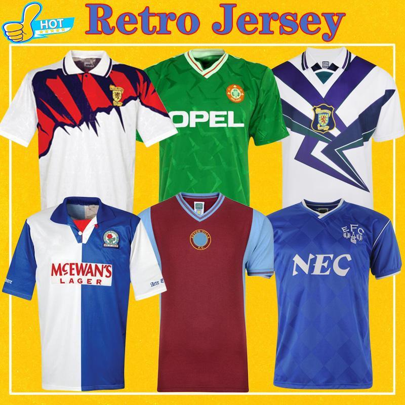 ريترو لكرة القدم جيرسي اسكتلندا 88-98 أيرلندا 1990 86 87 95 قميص كرة القدم الكلاسيكي