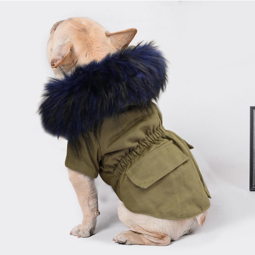 2021 Yeni Sıcak Kış Köpek Giysileri Lüks Kürk Köpek Ceket Hoodies Küçük Orta Köpek için Rüzgar Geçirmez Pet Giyim Polar Kaplı Yavru Ceket