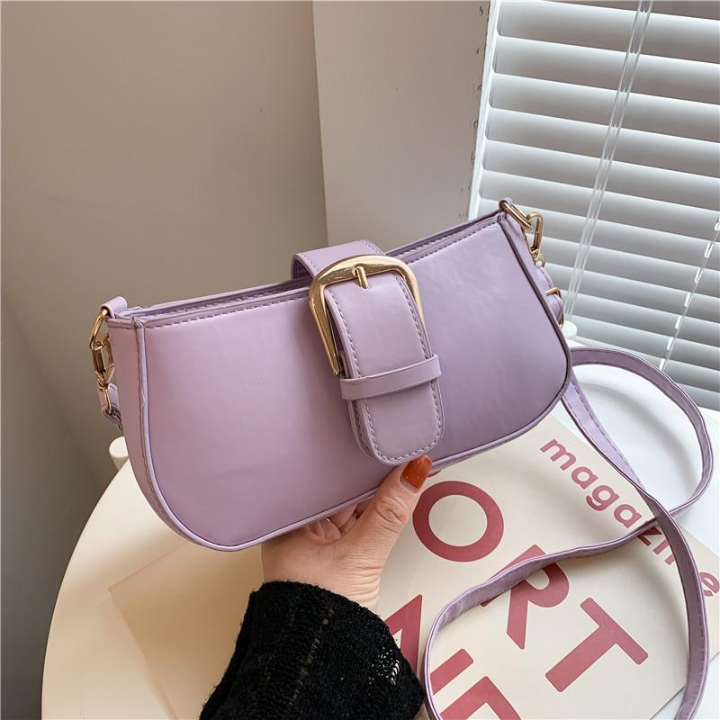 Evening Bags Ummer Macaron Shoulder For Women 2021 Solid Coloe Women's Axillary Bag With Belt Small PU Leather Handbags Female A263