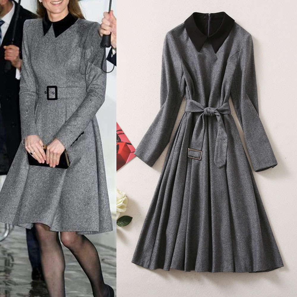 Осенью и зима 2021 улица мода женские новые цветные контрастные отворы кружев на талии с длинным рукавом платье в твиду