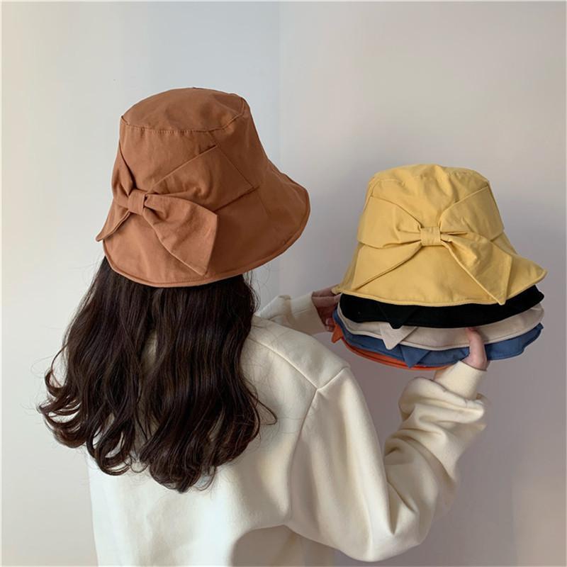 Fisherman Hat women Spring /Summer Leisure Travel Sun Hat Soft Folding Bucket Bowknot Sun Girl Cap