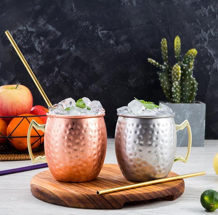 Copper Mug Stainless Steel Beer Cup Moscow Mule Mug Rose Gold Hammered Copper Plated Drinkware EEF5035