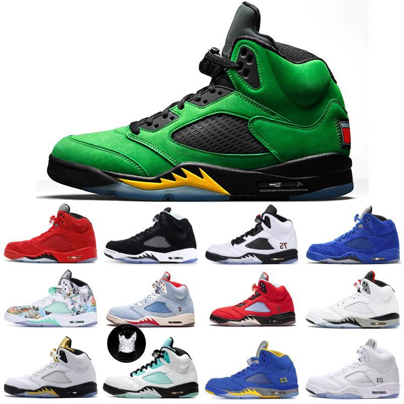 Raging Bull 5 5S Manbasketballshoes أحذية رياضية جزيرة الأخضر الشبح الجلد المدبوغ الأزرق البديل العنب الأسود المعدنية النار الأحمر رجل كرة السلة أحذية المدربين