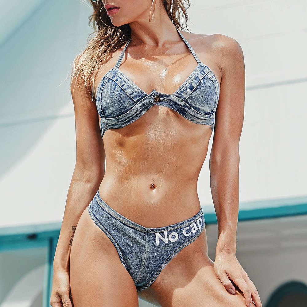 872 # 2021Bikini Новые женские сексуальные повязки джинсовые бикини купальники