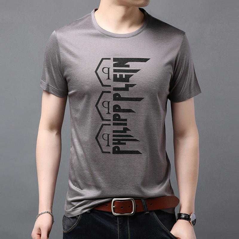 YUNMUHONG 2021 Yeni Bahar ve Yaz Yakasız Gençlik Mektup Kazak Slim Fit Rahat Kısa Kollu Erkek T-shirt