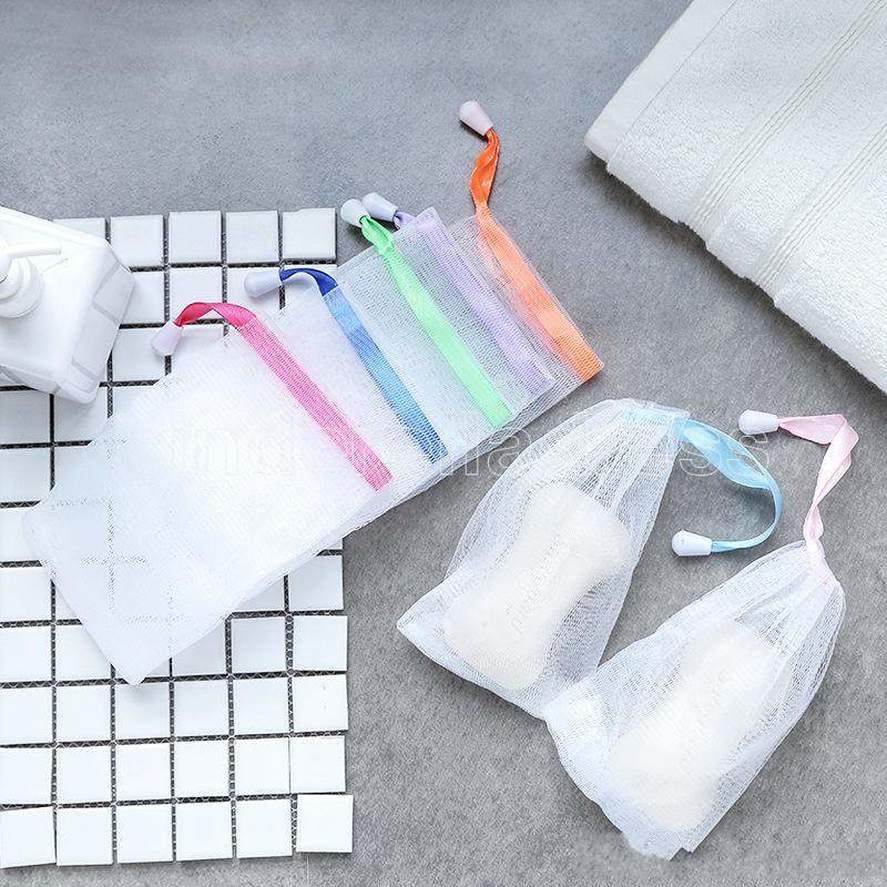 Fazendo bolhas net sabão sabão sack malha sabão bolsa sabão saco de armazenamento drawstring suporte de banho suprimentos
