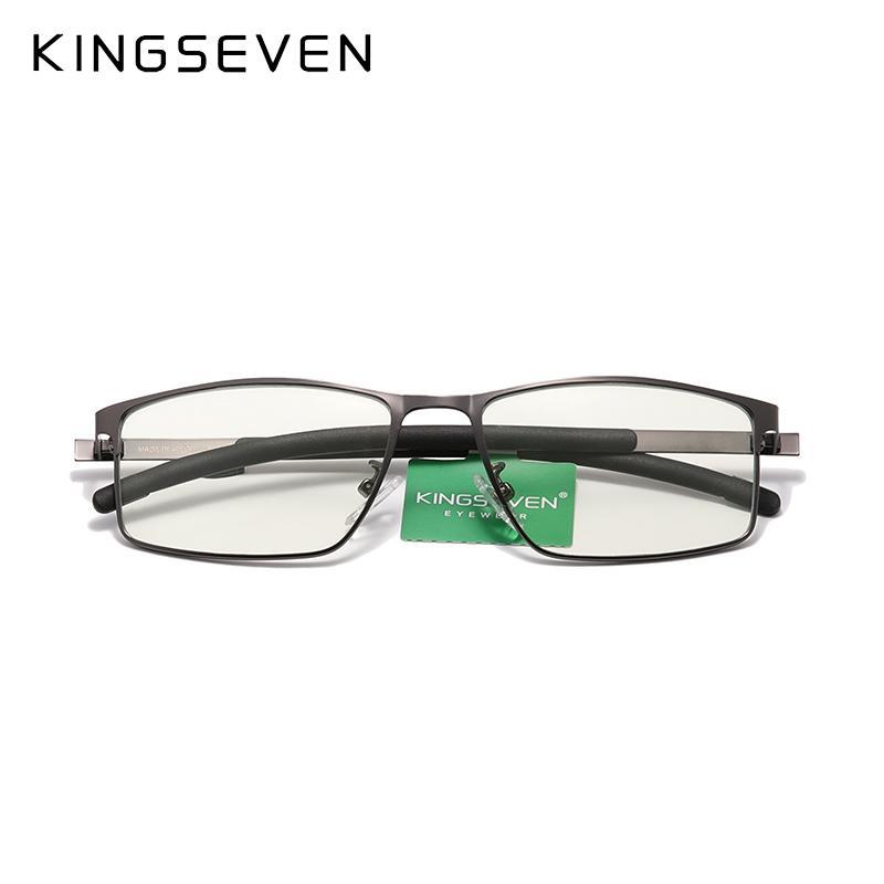 Gafas de los hombres de KingSEVER Globos ultraligeros ópticos de titanio Material de titanio Myopia Prescripción EyeGlasses Templo de silicona Diseño C0315