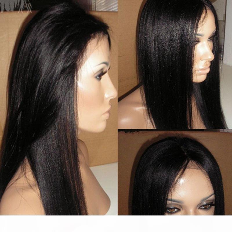 7A YAKI Italien Yaki Gloupe pleine dentelle pluie humaine perruques pour femmes noires cheveux brésiliens italien Yaki dentelle frontale