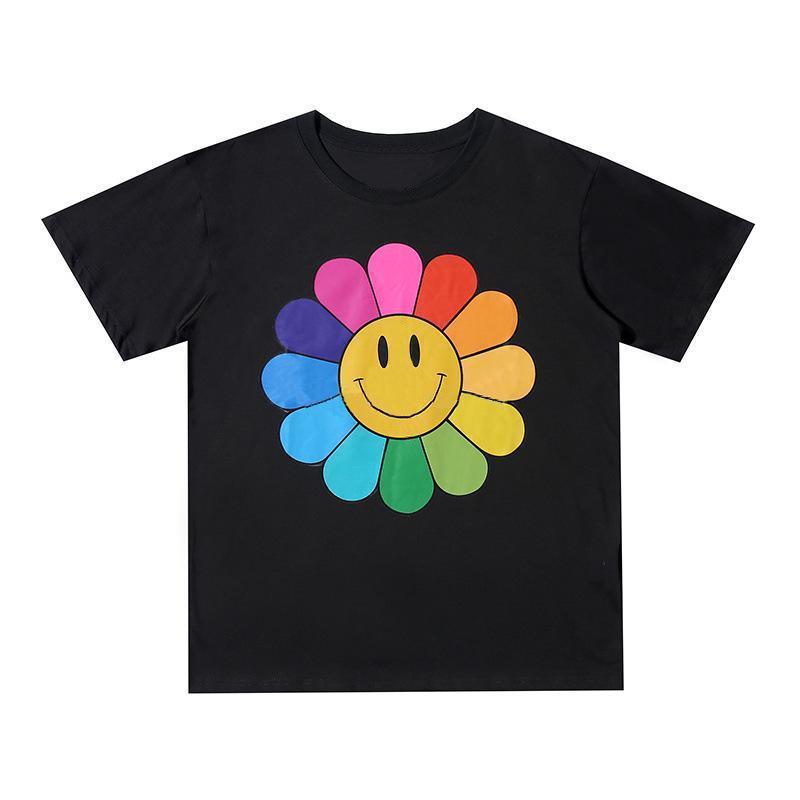 Новый мужской стилист футболка мужская женщина высокое качество цветы печати черная синяя футболка хип хмель размером S-XL