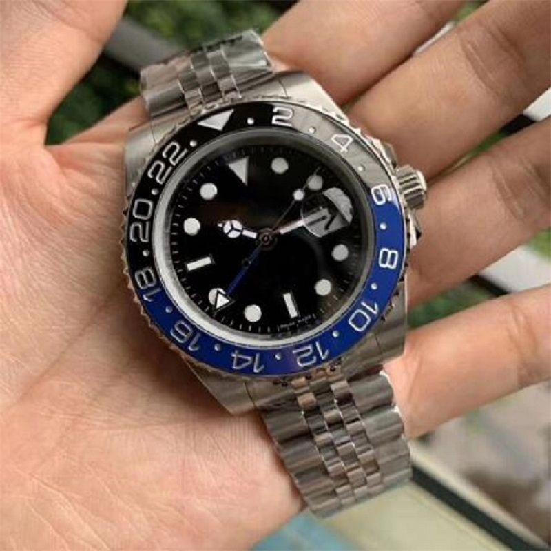 جديد رجل ووتش ساعة اليد الأزرق الأسود السيراميك حافة الفولاذ المقاوم للصدأ Watchess 116710 التلقائي GMT الحركة المحدودة اليوبيل ماجستير