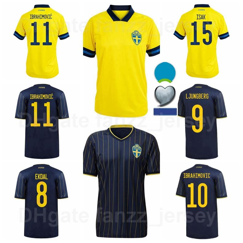 Suecia Soccer Jerseys 2021 2022 National Team Berg 22 Quaison 21 Kulusevski 17 Claesson 10 Forsberg 4 Granqvist 2 Lustig Football Shirt Kits Europa Copa Parche Euro