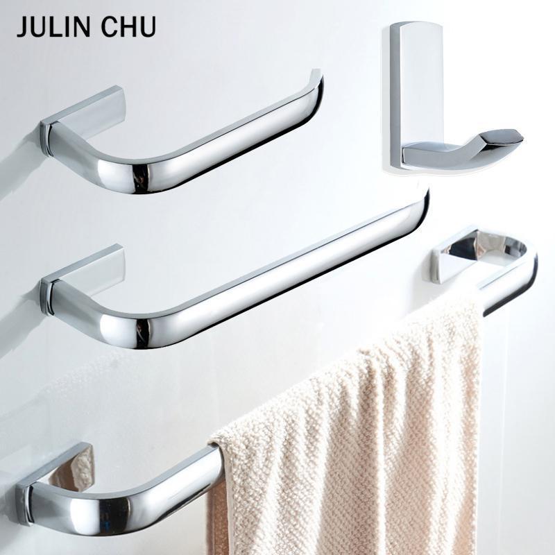 Chrome Bathroom Hardware Conjuntos de latão WC roll titular toalha anel de trilho de parede criativo roupão ganchos de papel higiênico acessórios de banho