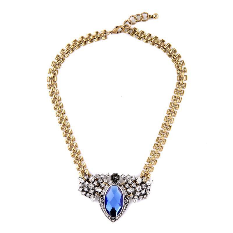 Выпускные шикарные Big Blue GEM ожерелье подвеска Высокое Качество Девушка для Йонс Мать Flash Сделки