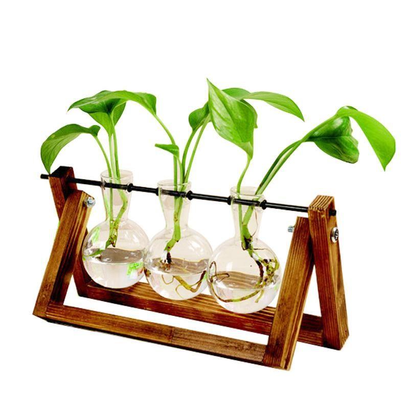 Terrarium kreative hydroponische pflanze transparente vase holzrahmen vase decoratio glas tabletop pflanze bonsai dekor blume