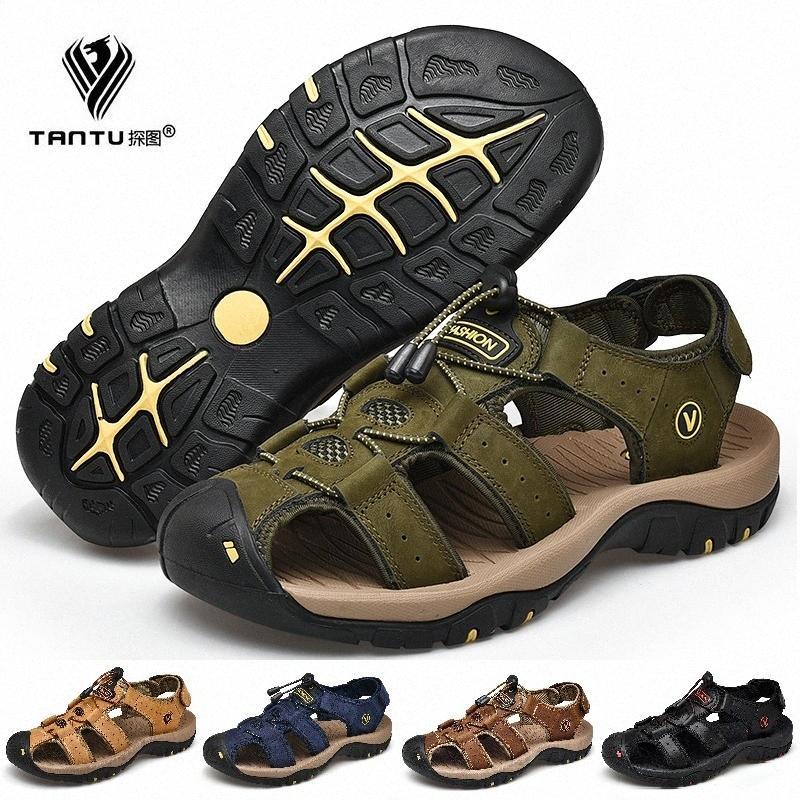 Tantu Erkekler Yaz Bahar Sandalet Hakiki Deri Rahat Ayakkabılar Adam Roma Tarzı Plaj Sandalet Marka Erkekler Açık Ayakkabı Boyutu EU38 47 Ayakkabı T89R #