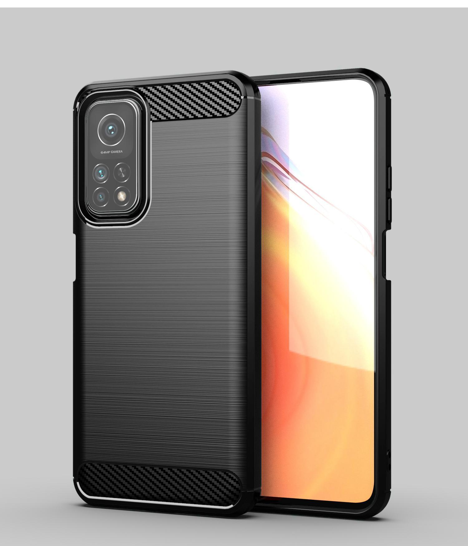 1.5mm tekstury włókna węglowego Slim Armor Szczotki TPU Case Pokrywa dla Xiaomi 11 10i 5g Redmi K30 Pro Uwaga 9T Redmi 9T 100 sztuk / partia