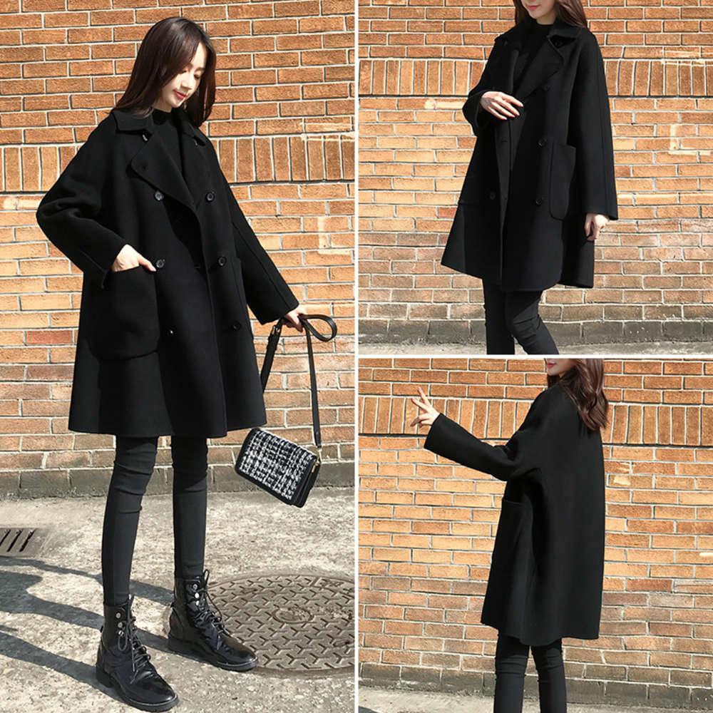 Black Woolen Outcoat Middle Long Long 2021 El nuevo traje de primavera es versátil con un pequeño abrigo de tweed coreano