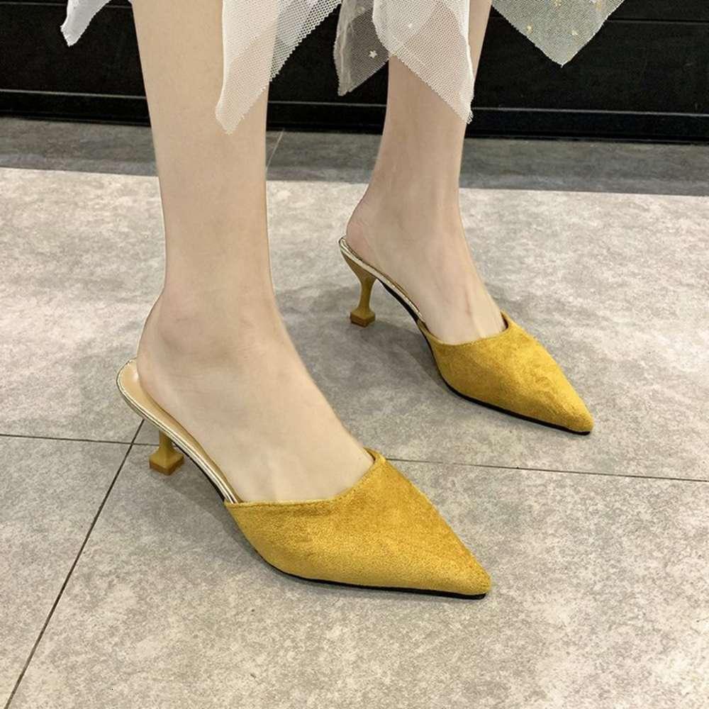 2019 yeni moda baotou dış giyim tembel az yarım terlik kadın yaz kedi topuk yüksek topuklu ayakkabı ayakkabı