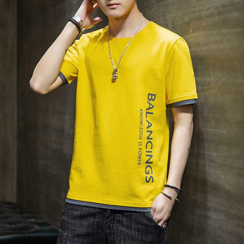 T-shirt da uomo manica corta T-shirt Splicing New Fashion Brand Leisure Versione coreana Camicia inferiore 2021 T-shirt da uomo manica corta estate