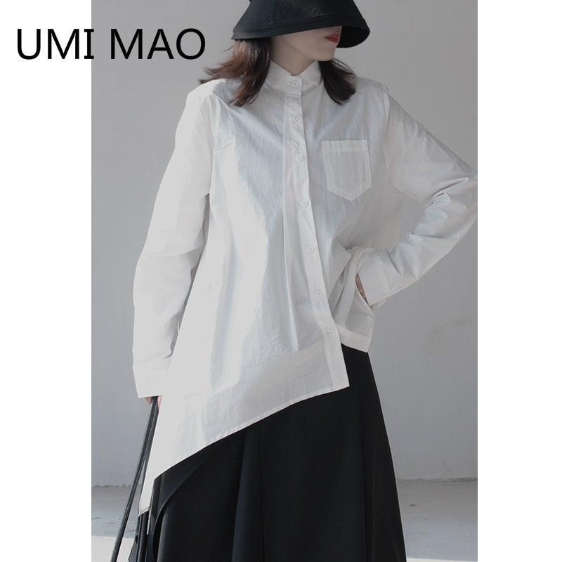 Umi Mao Spring Female de manga larga Camisa de color sólido Irregular Niche Design Yamamoto Temperamento oscuro Top
