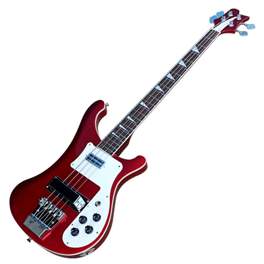 Red 4 Strings 4003 Ricken Electric Guitar Guitarra con PickGuard Blanco, Robowood Freboard