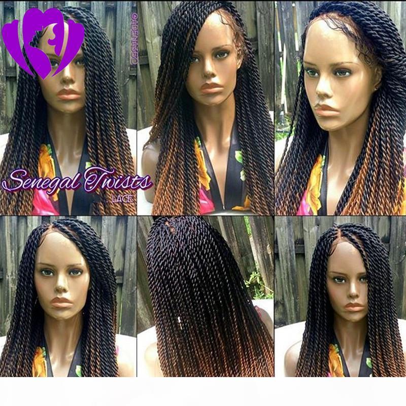 섹시한 아프리카 아메리카 여성 스타일 ombre 갈색 꼰 가발 아기 머리 180 진도 전체 레이스 전면 트위스트 가발 합성 머리