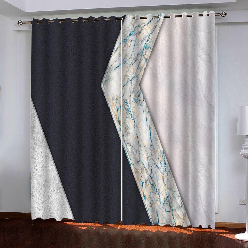 2021 Custom 3D занавес мраморные шторы для гостиной спальня кухонные окна занавесы