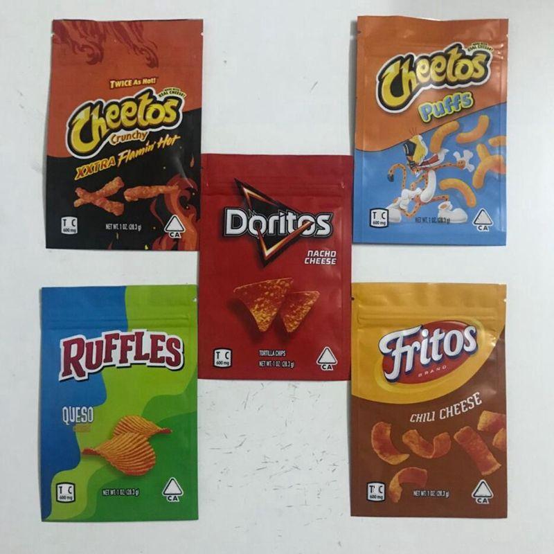 5 tipi 600mg 1oz Cheetos Borse Mylar Fritos Cheese Gummi Borsa Worm Ruffles Edibles Pacchetti Doritos Chip Odore PROVA PROVA RESALABILE Zipper Zipper Pacchetto