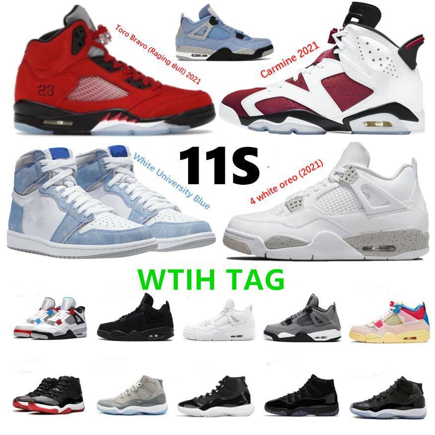 11s 11 Jubilee 25. Yıldönümü Basketbol Ayakkabıları 5 Raging Boğa Kırmızı 2021 Carmine Concord Bred Space Jam Hyper Kraliyet Sneaker Trainer