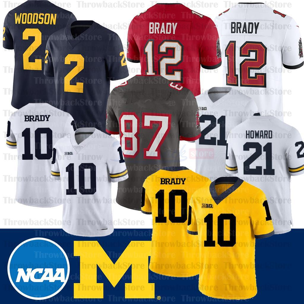 NCAA ميشيغان ولفيرينز جيرسي 10 ديزموند هوارد توم برادي تشارلز وودسون شيا باترسون كلية كرة القدم جيرسي