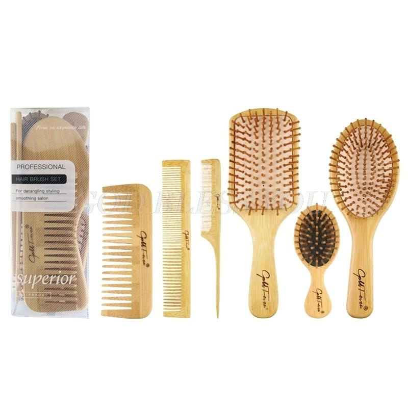6 adet Ahşap Combs Set Sağlıklı Paddle Saçağı Saç Fırçası Bambu Yastık Başkanı Masaj Fırçası Saç Bakımı Drop Shipping 210302