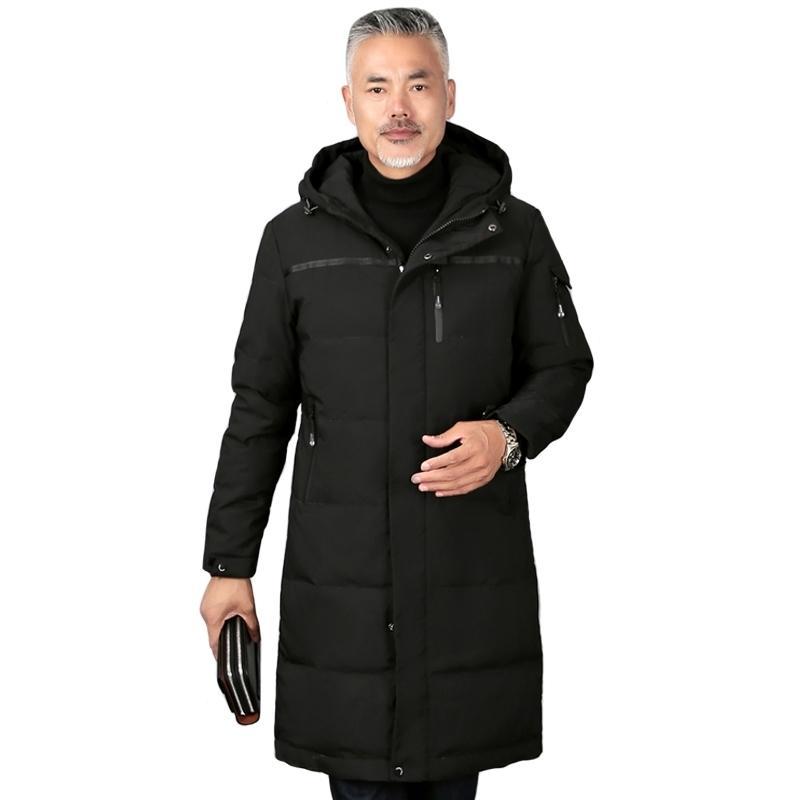 Plus taille 5XL Hommes d'âge moyen Hiver Hiver Hiver Down Down Down Duket Blanc Down Hiver Jacket Hommes Hommes à capuche Hommes Overcoat 210222