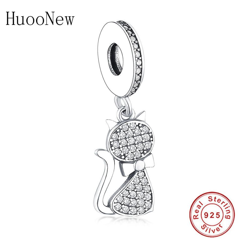 HuoOnew Fit Pandora Charm Bracelet 925 Sterling Silver Pequeño animal Cat Zirconia Cuentas de cristal Colgante Haciendo Berloque Q0225