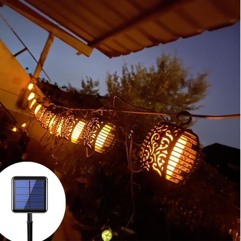 Solar Lamps Outdoor Lanterns Garden LED String Lights Waterproof Hanging Lantern Decoration Patio Flickering Flame